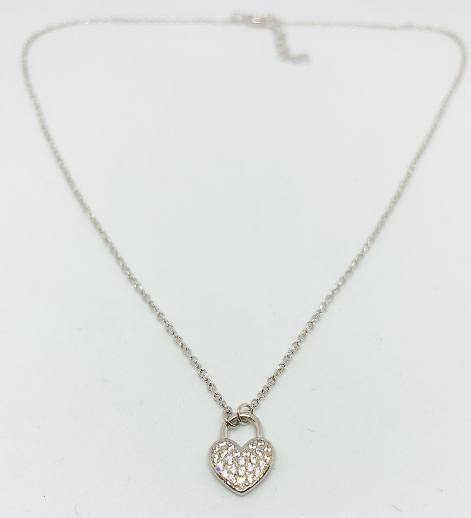 Crystal Heart Padlock Necklace