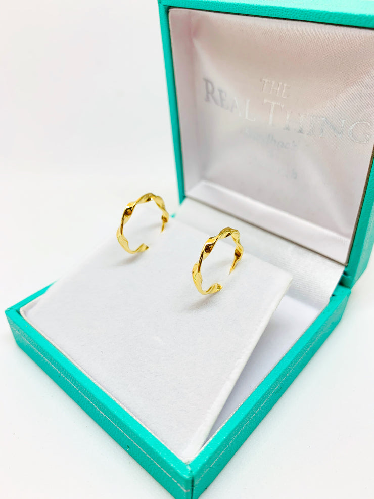 Gold Twisted Hoop Stud Earrings