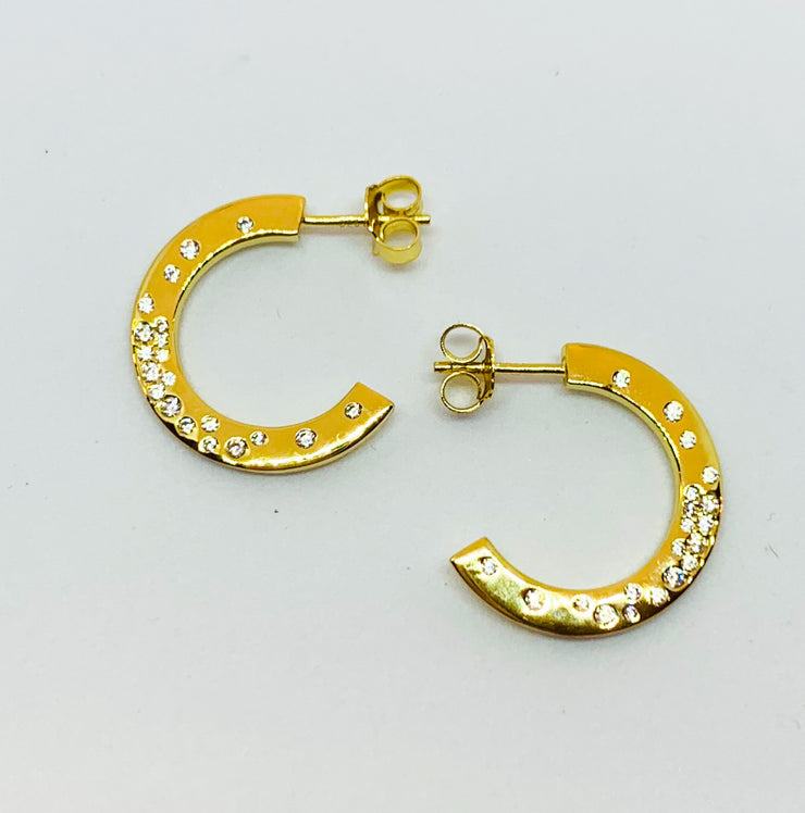 Gold Sparkle Chunky Hoop Stud Earrings