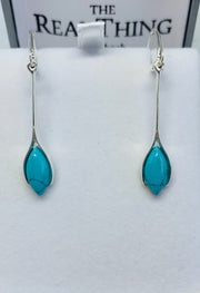 Turquoise Marquis Long Drop Earrings