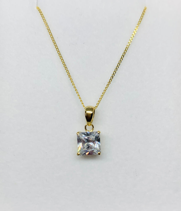 Gold Square Crystal Pendant