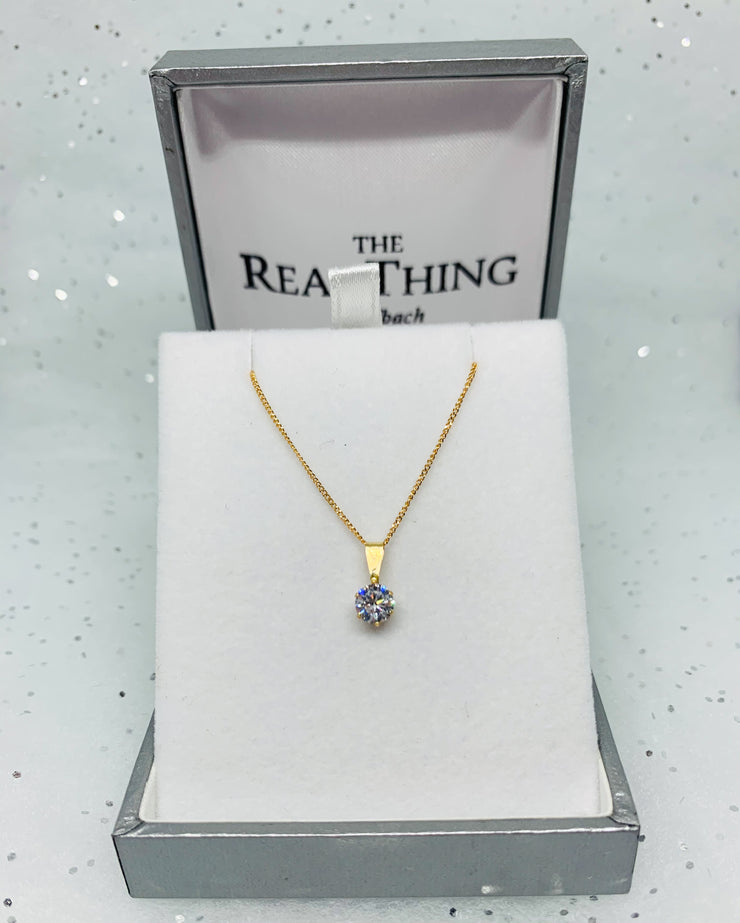 Gold Small Round Crystal Pendant