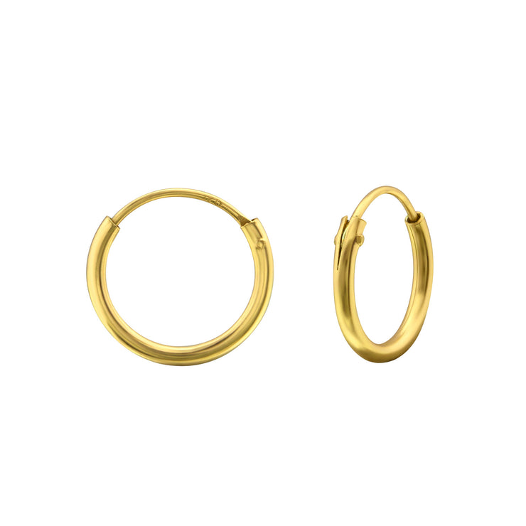 Yellow Gold 12mm Hoop Earrings
