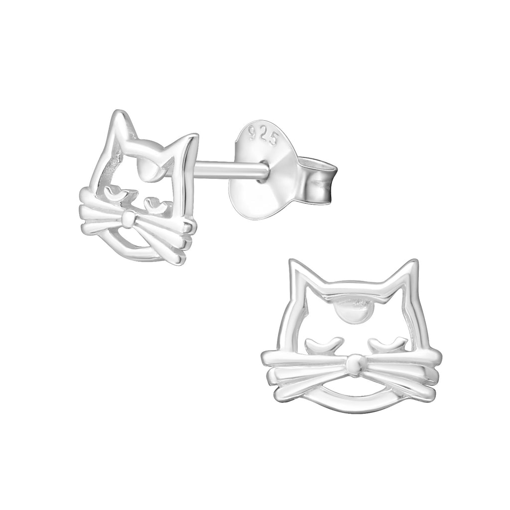 Silver Cat Face Stud Earrings