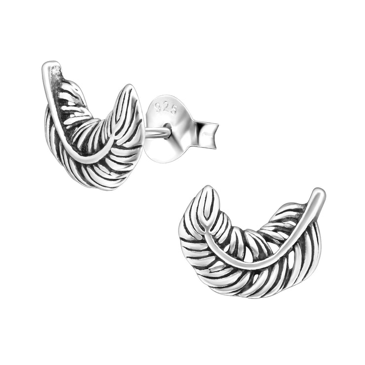 Silver Curled Feather Stud Earrings