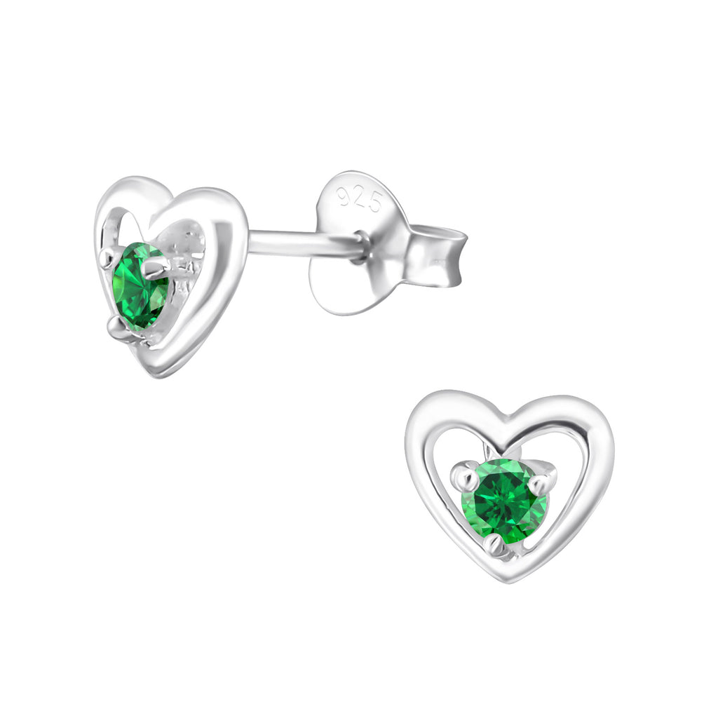 Silver May Emerald Green Heart Stud Earrings