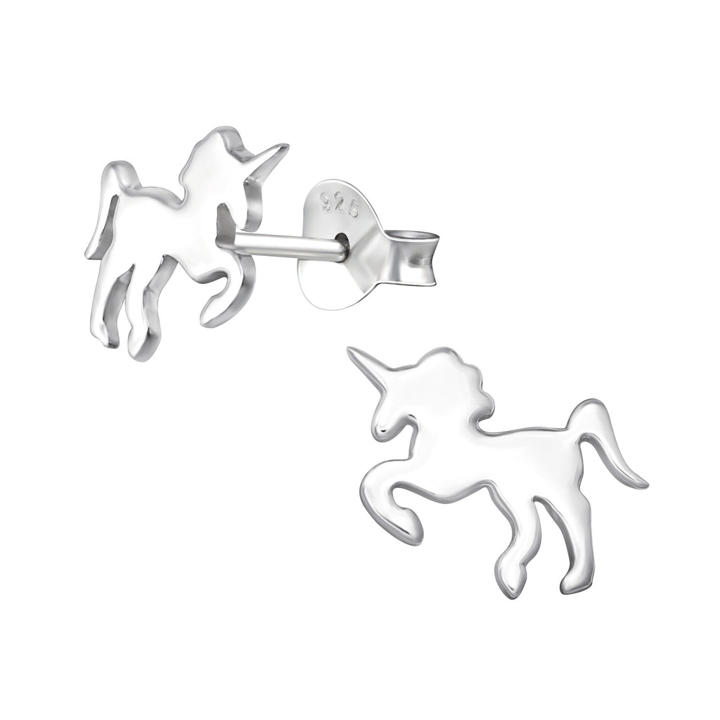 Silver Filled Unicorn Stud Earrings