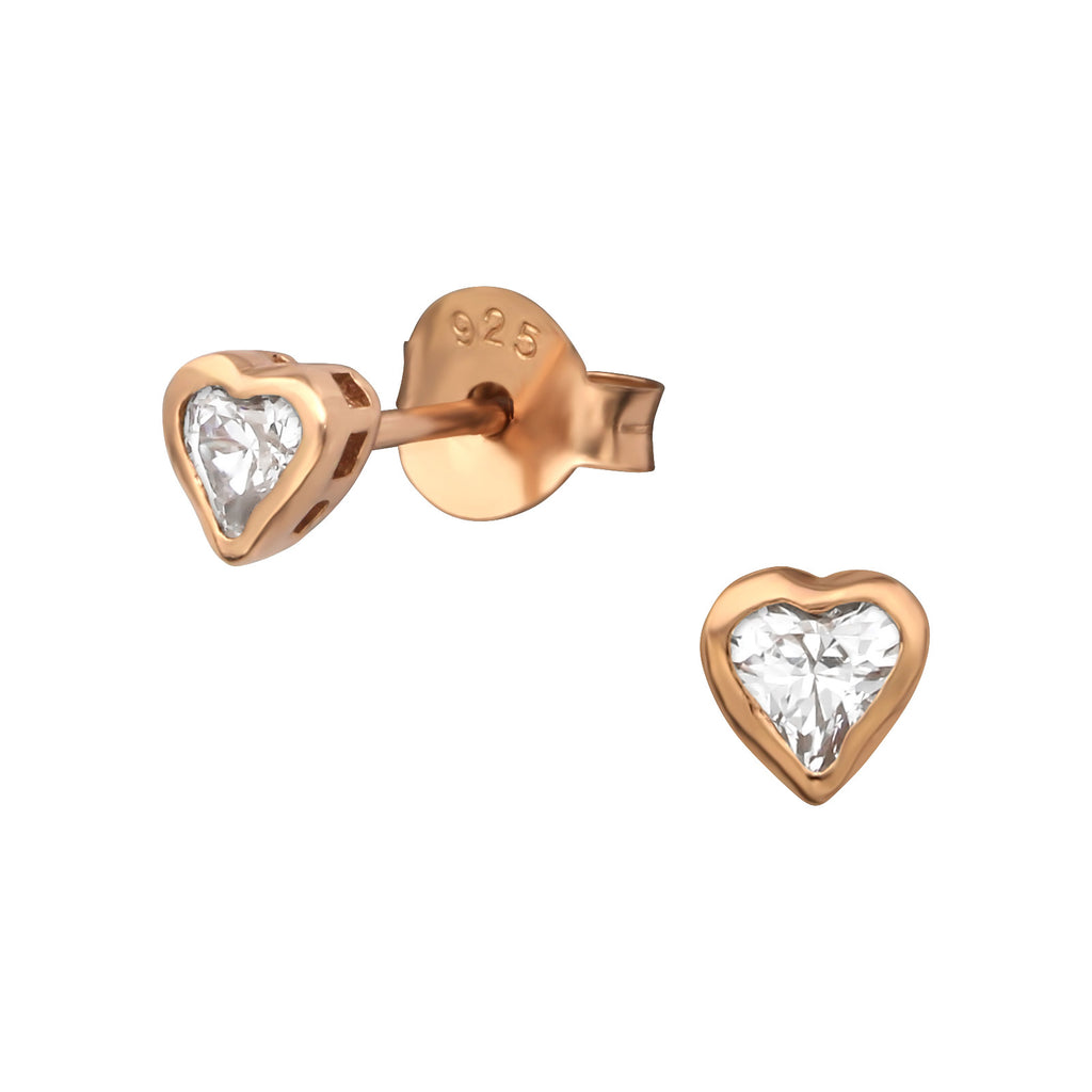 Rose Gold CZ Heart Stud Earrings