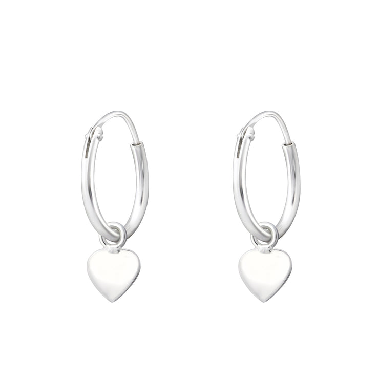 Silver Heart Charm Hoop Earrings