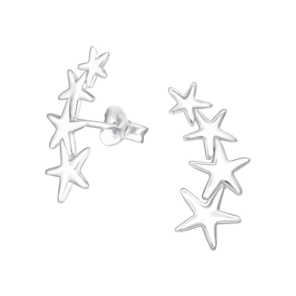 Silver Stars Ear Climber Stud Earrings