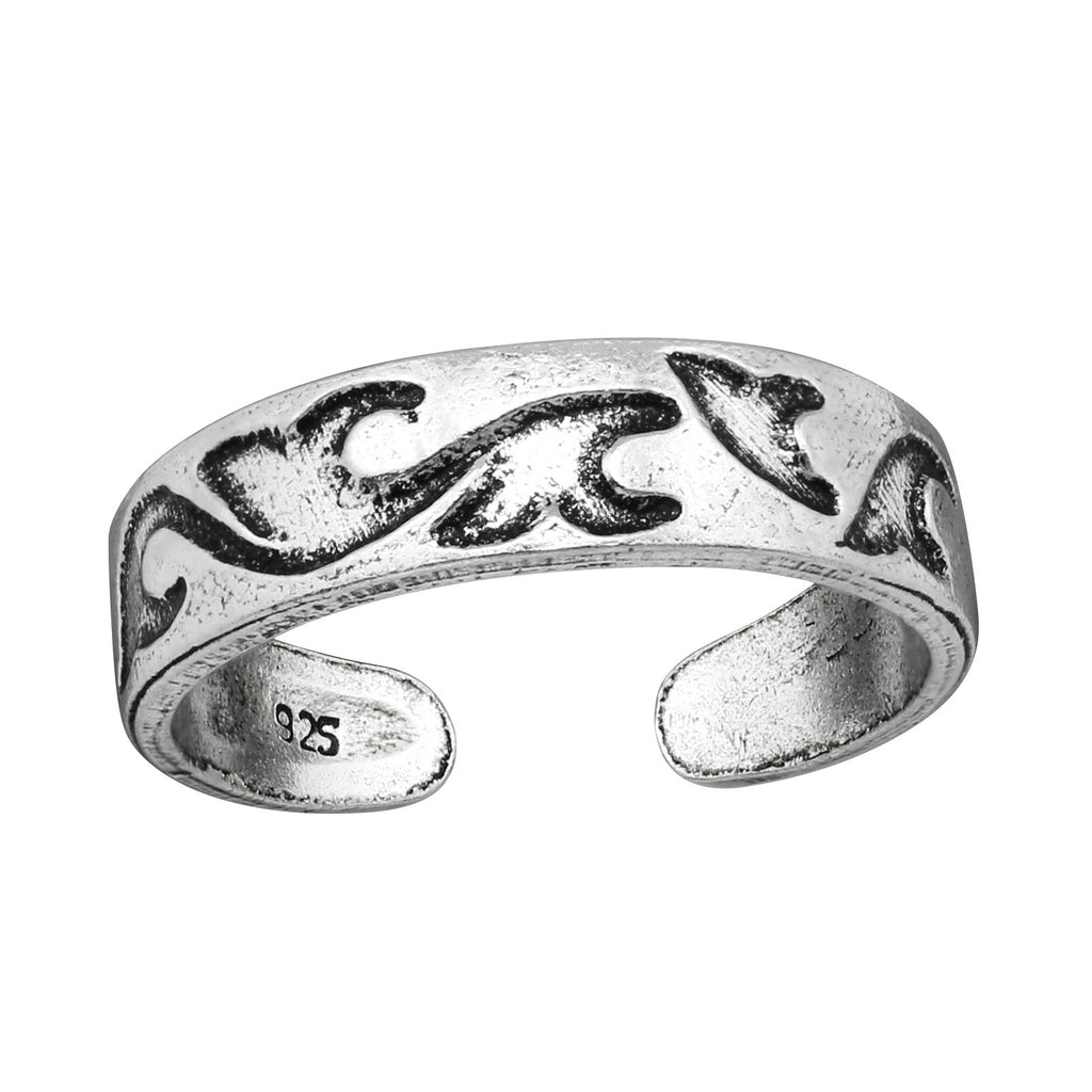 Oxidised Silver Waves Toe Ring