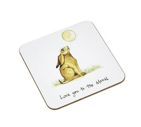 'Love You To The Moon' Hare Coaster
