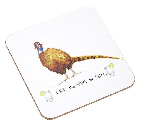 'Let The Fun Be Gin' Pheasant Coaster
