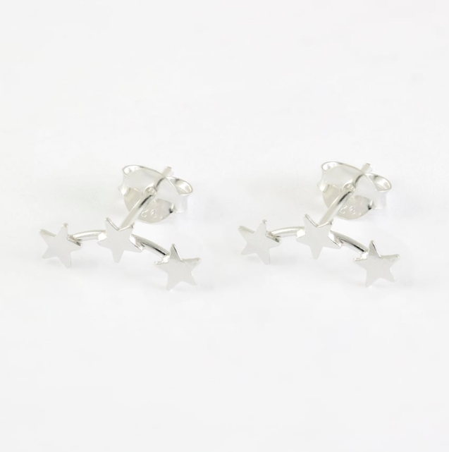 3 Star Ear Climber Stud Earrings