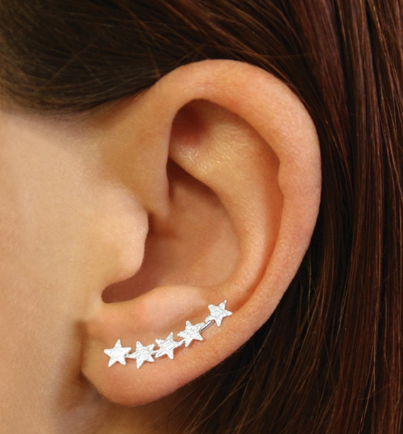 5 Star Textured Ear Climber Stud Earrings
