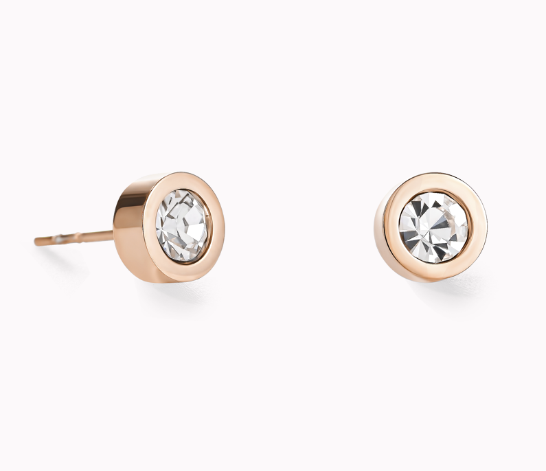 Coeur De Lion Rose Gold Clear Crystal Stud Earrings