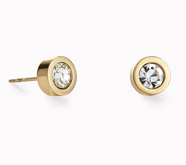 Coeur De Lion Gold Clear Crystal Stud Earrings