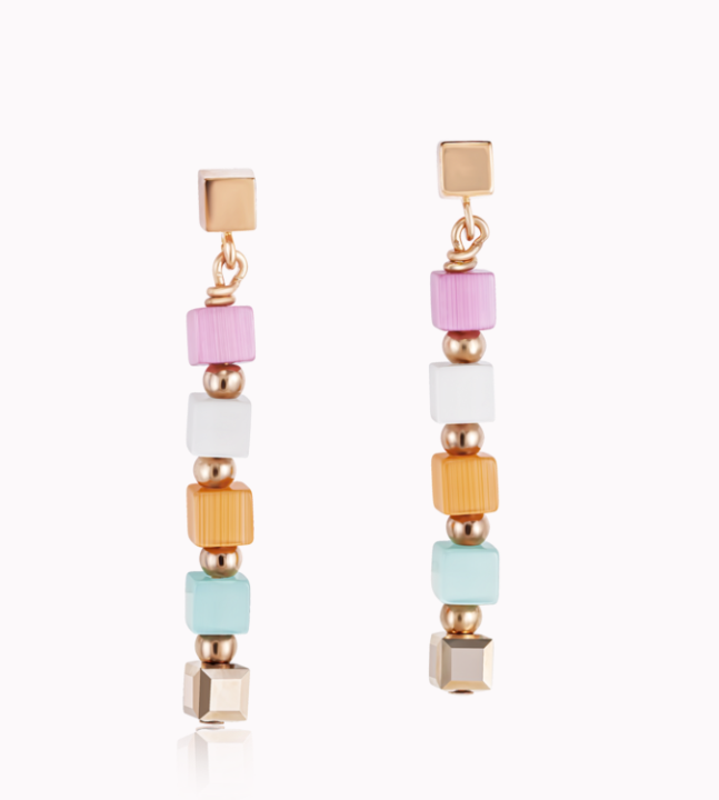 Coeur De Lion Small Pastel Cube Multicolour Earrings