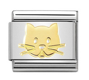 Nomination Gold Cat Face Charm 030162/53