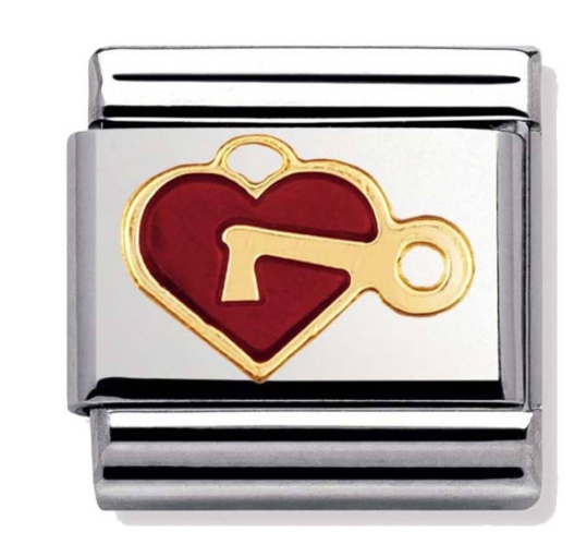 Nomination Gold & Red Heart with Key Charm 030207/47