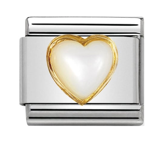 Nomination Gold Pearl Heart Charm 030501/12