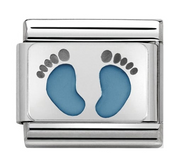 Nomination Silver Baby Blue Footprints Charm 330208/15