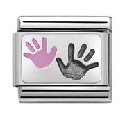 Nomination Silver Pink Baby & Parent Handprint Charm 330208/42