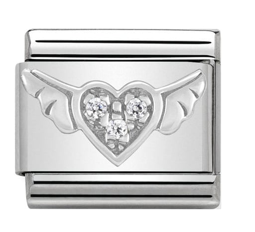 Nomination Silver Crystal Heart with Wings Charm 330304/12