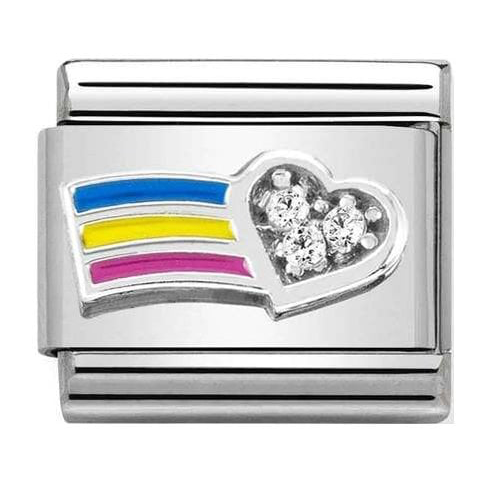 Nomination Silver Rainbow Crystal Heart Charm 330321/01