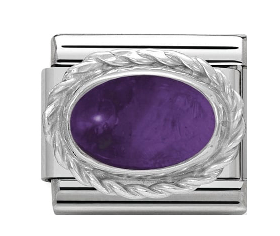 Nomination Silver Oval Purple Amethyst Charm 330504/02