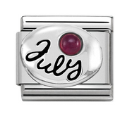 Nomination Silver July Ruby Charm 330505/07