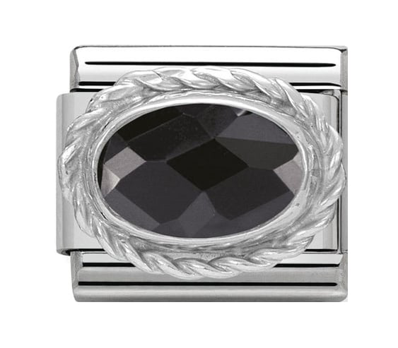 Nomination Silver Facetted Black Charm 330604/011
