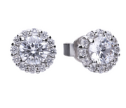 Diamonfire Solitaire 1.36 ct pave set stud earrings