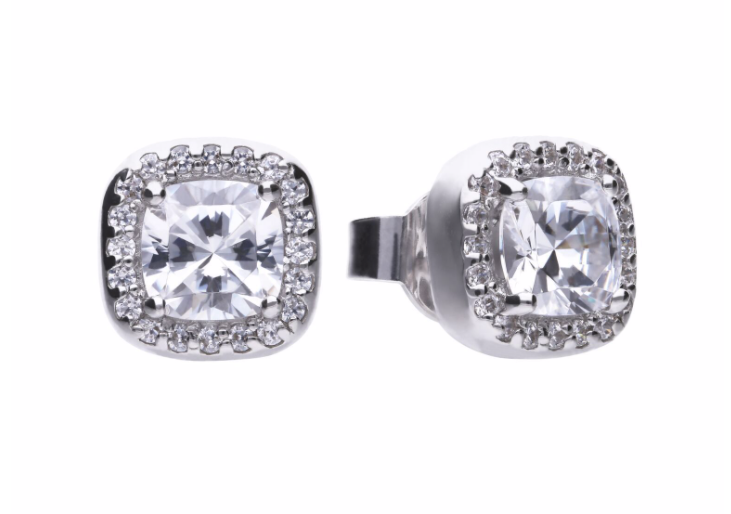 Diamonfire Square Solitaire & Pave Set Stud Earrings