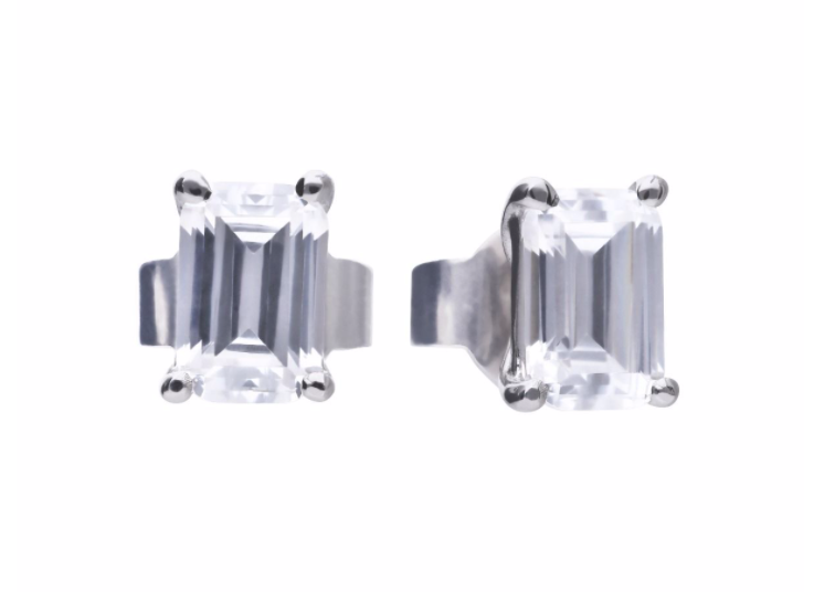 Diamonfire Emerald Cut Rectangular Stud Earrings
