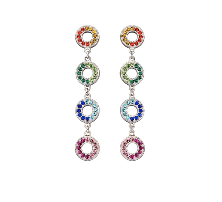 Fiorelli Open Disc Rainbow Stud Earrings