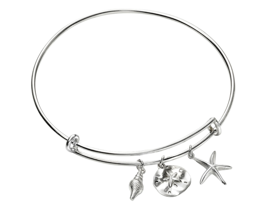 Silver Beach Shell Starfish Bangle