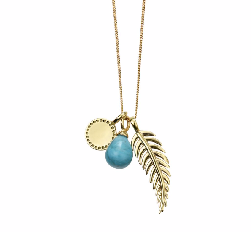 Gold Feather Magnesite Charm Necklace