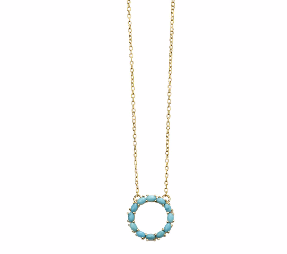 Gold Magnesite Open Disc Necklace