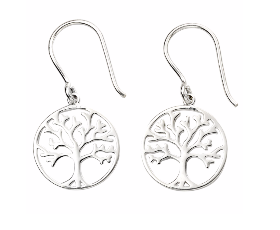 Silver Tree Disc Drop Earrings