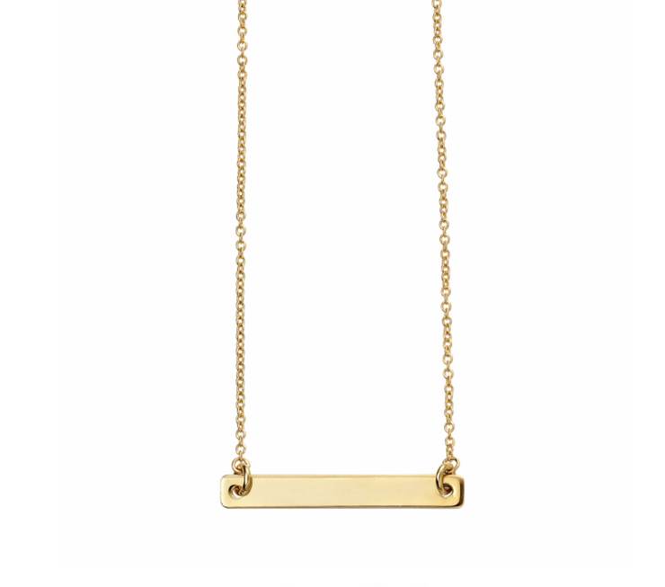 Gold Engravable ID Bar Necklace