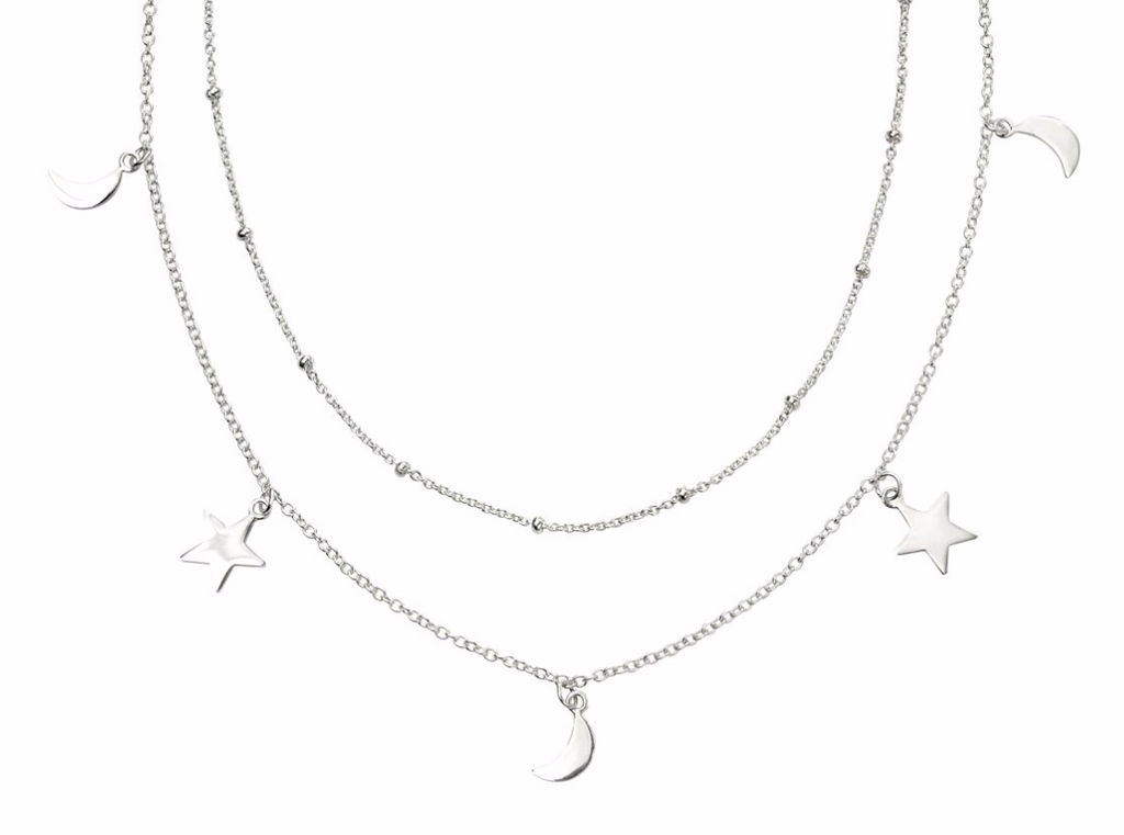 Silver Star & Moon Double Row Necklace