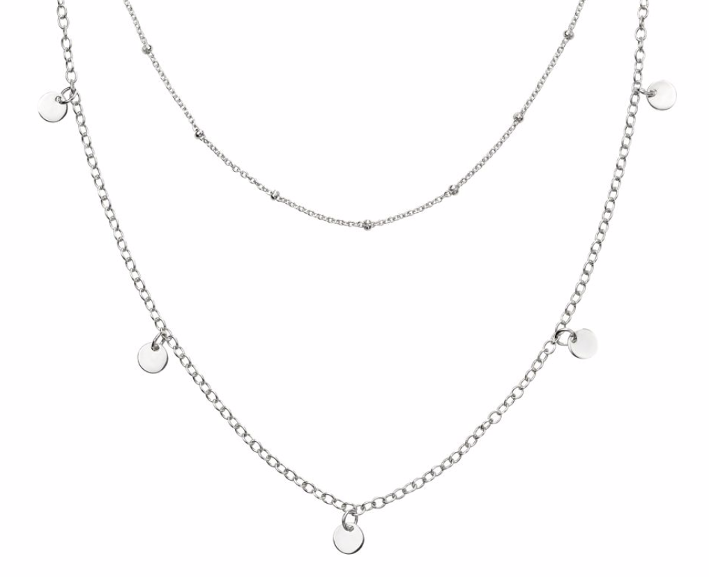 Silver Mini Disc Double Row Necklace