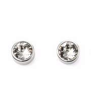 April Birthstone Silver Stud Earrings