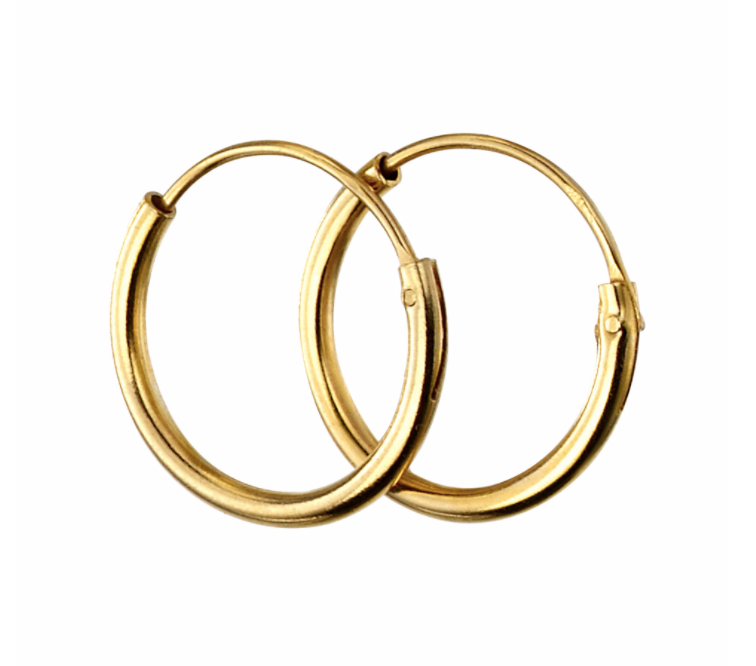 Gold 10mm Plain Hoop Earrings