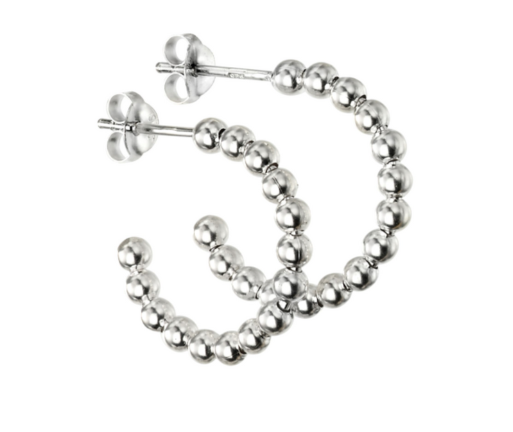 Silver 21mm Ball Hoop Earrings