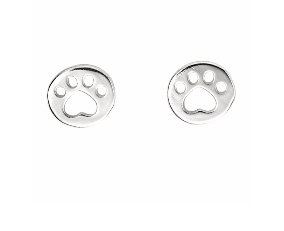 Silver Heart Paw Print Stud Earrings
