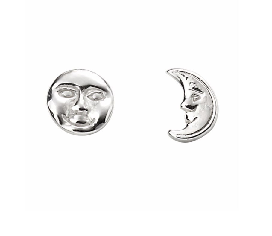 Silver Moon Face Odd Stud Earrings
