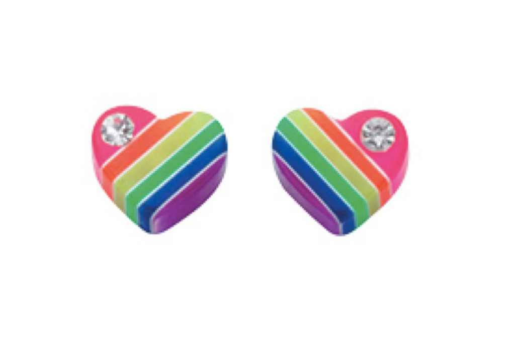 Rainbow Heart Crystal Stud Earrings