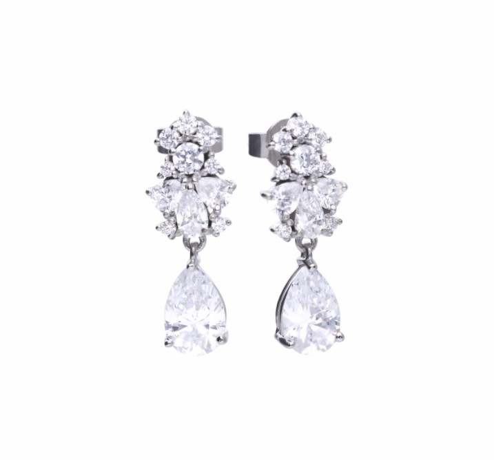 Diamonfire Pear Drop Cluster Stud Earrings